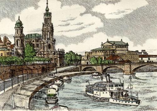 Dresden, Brühl`sche Terasse mit Hofkirche